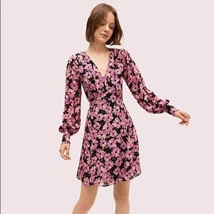 Kate Spade Wallflower Pink Floral Silk Mini Dress Size 14